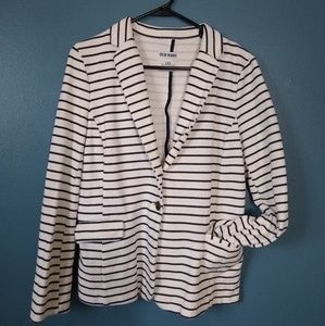 White and Blue Striped Old Navy Blazer Size Large